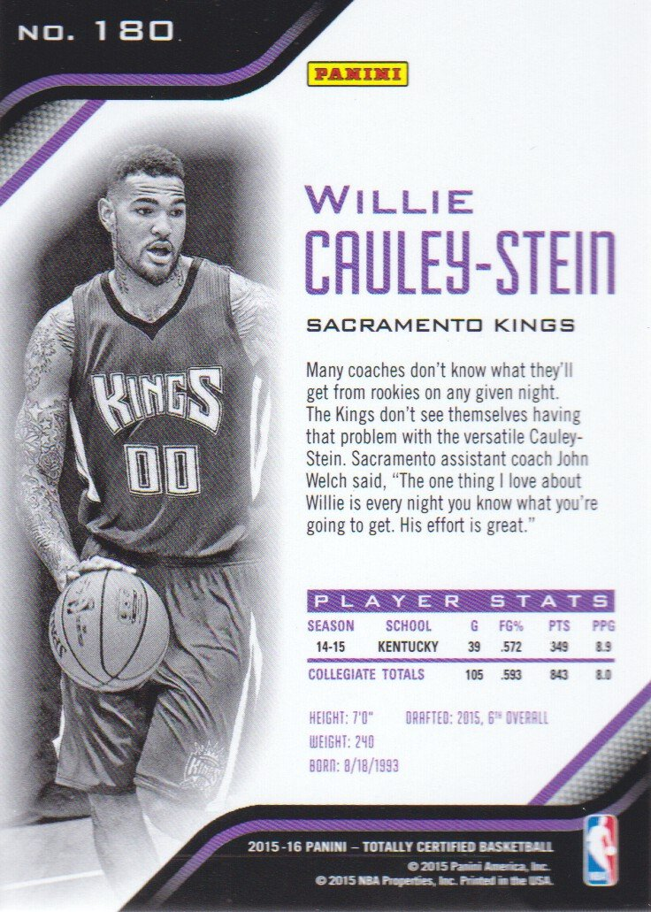 2015-16 Totally Certified Basketball #180 Willie Cauley