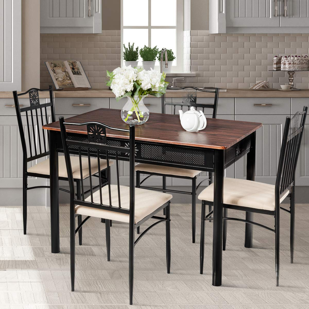Tangkula 5 Pieces Dining Table and Chairs Set Vintage Retro Wood Top Metal Frame Padded Seat Dining Table Set Home Kitchen Dining Room Furniture Brown