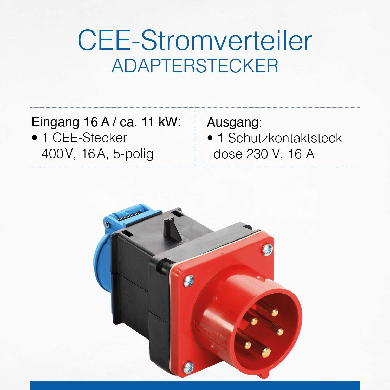 CEE Adapter Stecker 400V 16A  IP44 1 x Schukosteckdose 230V as-Schwabe 60495