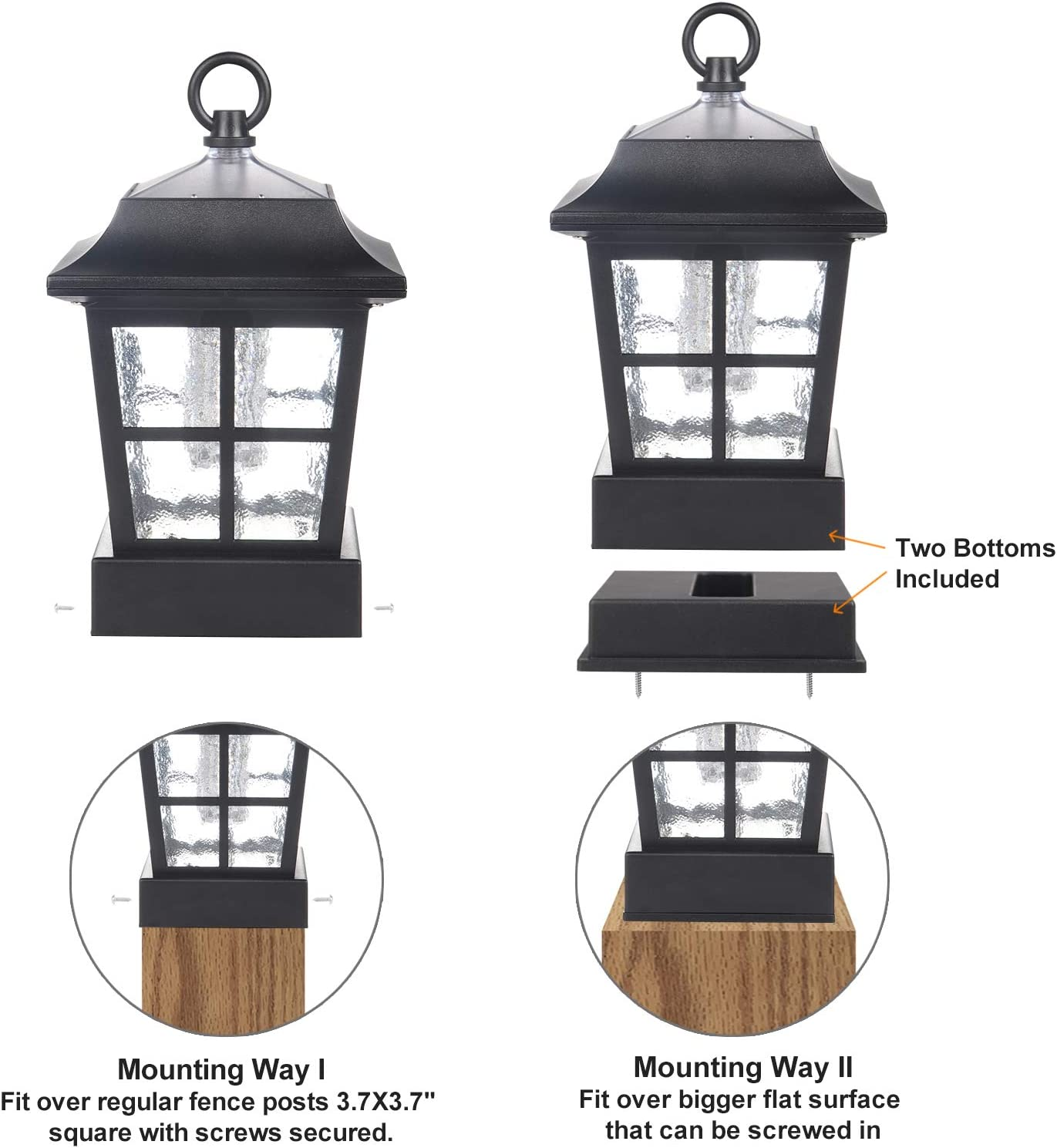"""Solar Fence Post Light Solar Deck Light Solar Post Cap Light Solar Patio Light 15 LUMENS ST130QFX2 fit for 3.7X3.7/"""" Regular Fence Posts or with Included Adaptor fit for Bigger Flat Surface"""