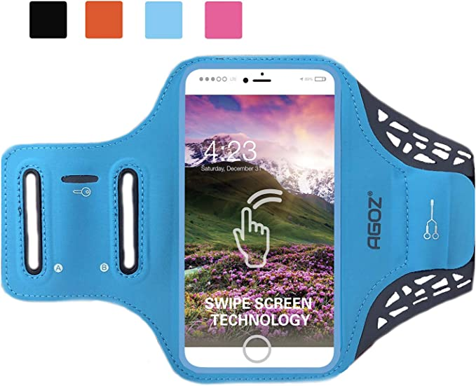 AGOZ Brazalete Soporte para teléfono Celular Estuche Deportivo Gimnasio Correr Trotar Ciclismo Ejercicio Clave Tarjeta de crédito Bolsa Compatible Apple iPhone XS MAX, iPhone XR, iPhone 8 (Turquesa): Amazon.es: Electrónica