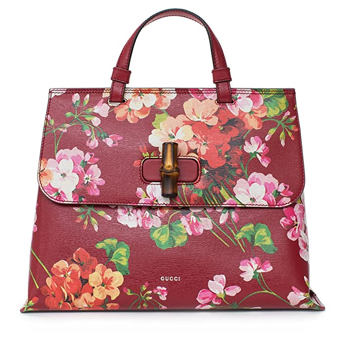 62c19a1adcb1 Amazon.com  GUCCI Bamboo Shopper Blooms Leather Tote Bag Red  Shoes