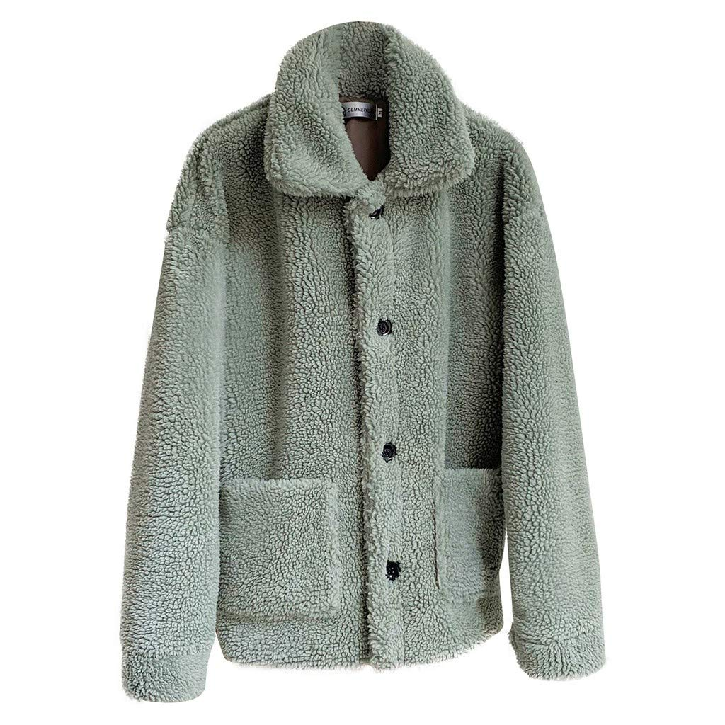 SNOWSONG Womens Button Up Cashmere Jacket Coat Fuzzy Autumn Winter Warm Lapel Casual Outwear Green by SNOWSONG