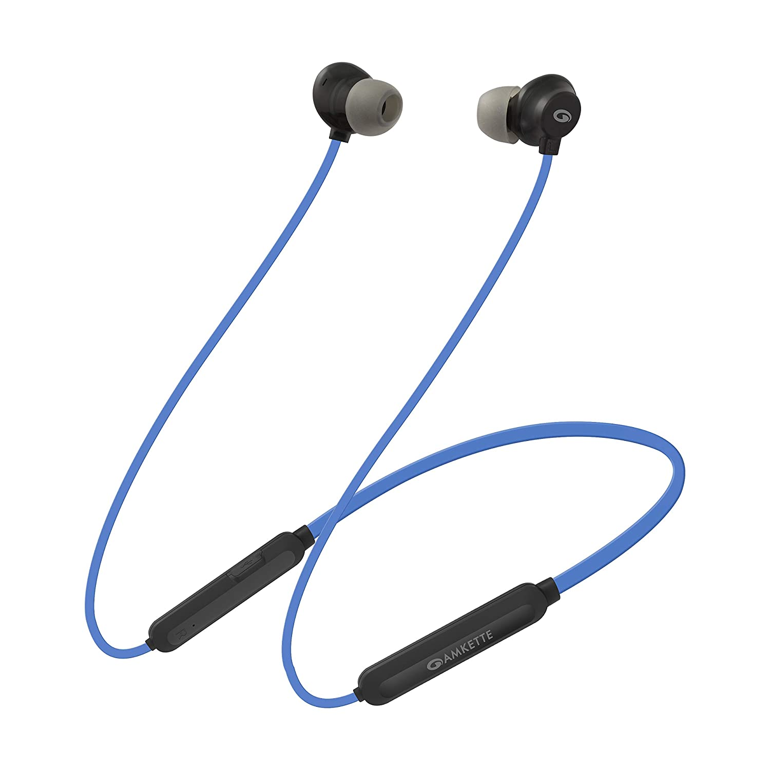 Amkette Urban X6 Bluetooth Headphones with in-line Mic Controls, Voice Assistant, 12 Hours of Playback, IPX5 Sweatproof and Magnetic Earbuds (Blue)