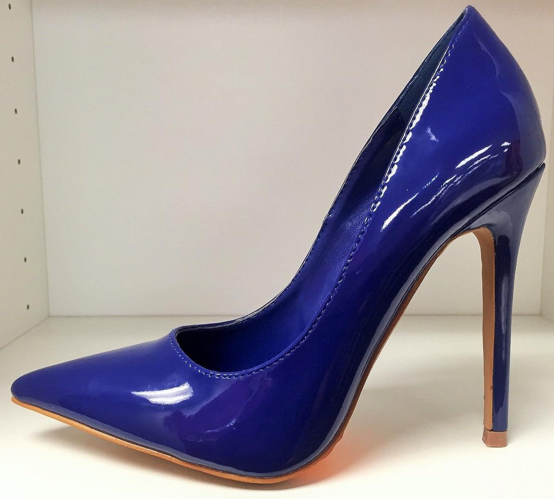 aa636a4ea6c Amazon.com  SR Pointy Toe Faux Patent Leather Stiletto Heel Pumps Slip On  Slide Shoe Dark Blue 8.5  Shoes