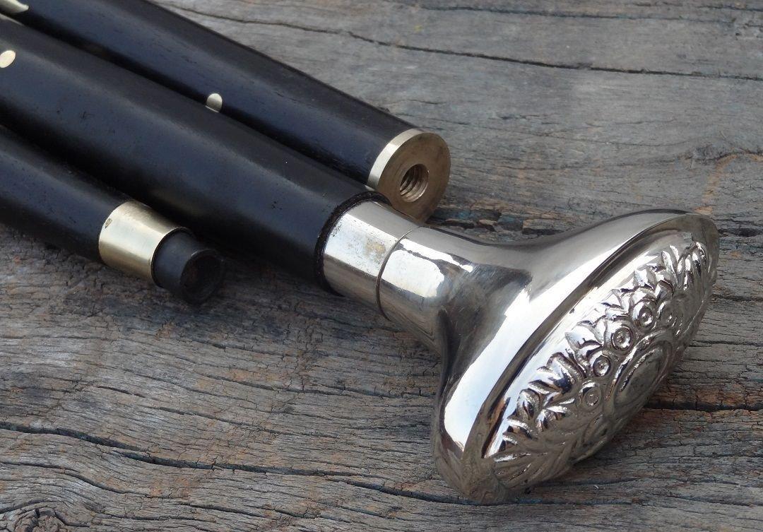 Royalexports Vintage Designer Brass Handle Chrome Style Victorian Cane Wooden Walking Stick