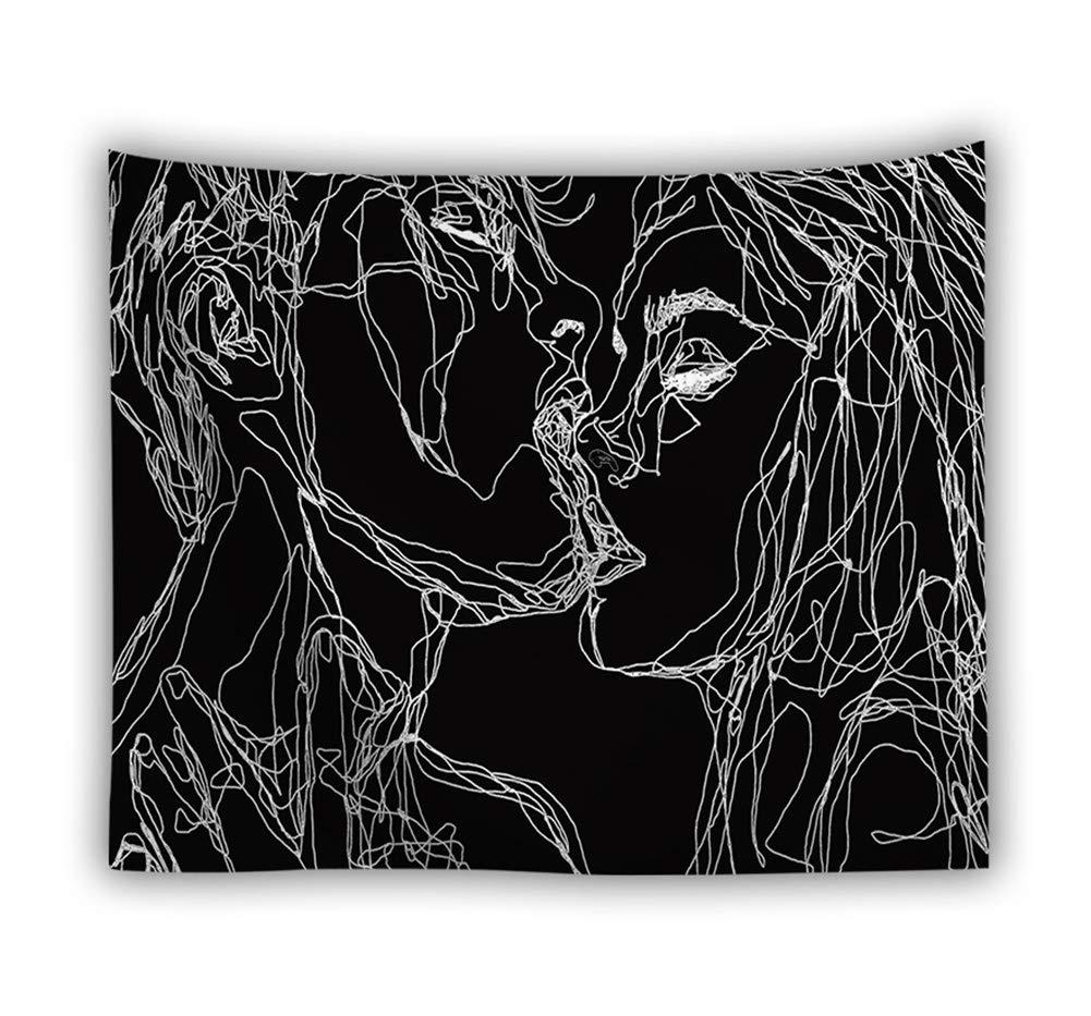 Tapisserie Murale Psychedelique Blanche Noir Croquis Bisou Tenture Murale Artistique Style Nappe Serviette de Plage L/éger Polyester pour La Maison Mur Chambre Salon D/écorations 1#,150x100cm