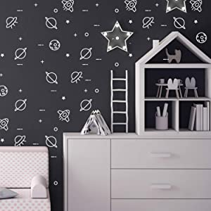 Set of 48 Vinyl Wall Art Decal - Outer Space Stickers - 3