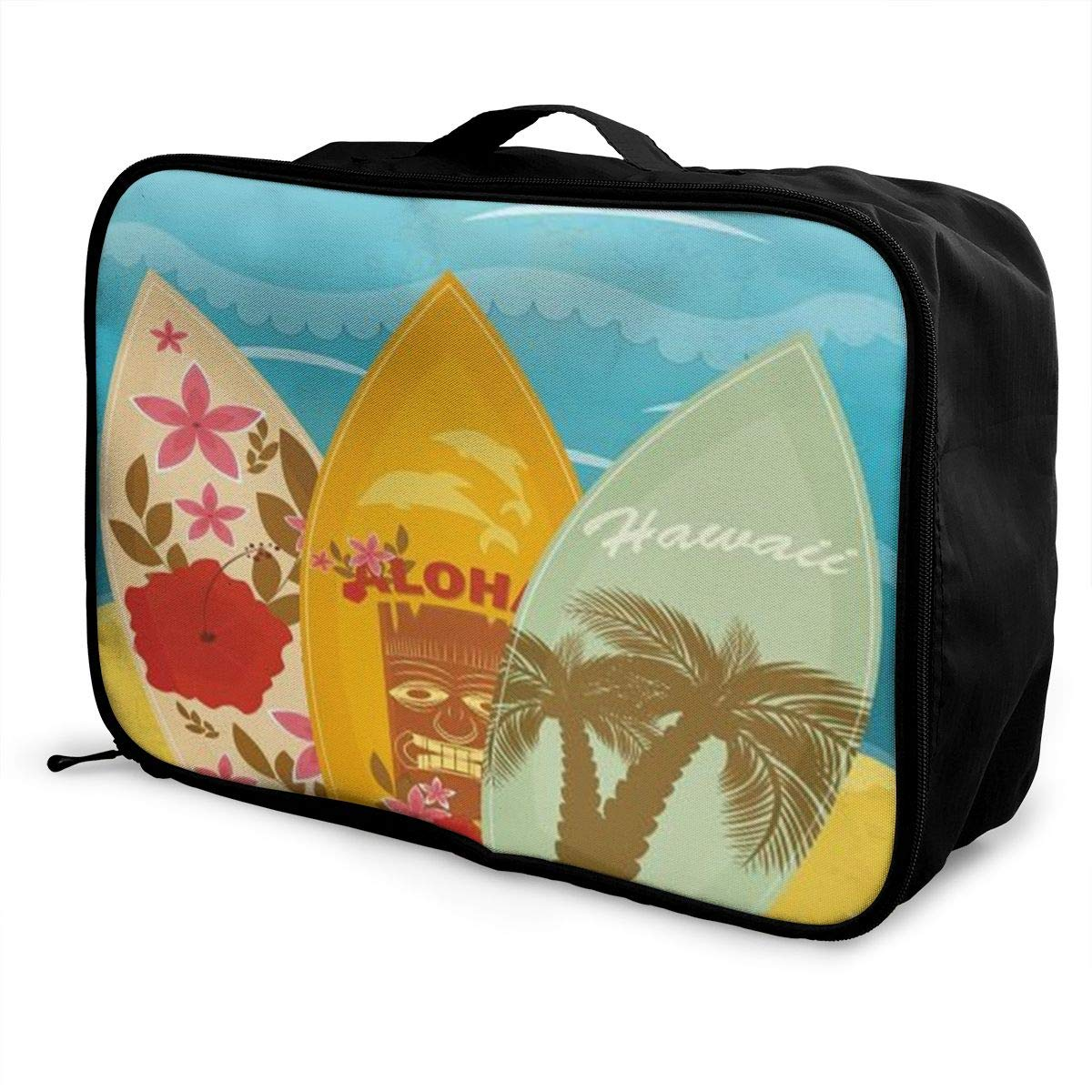 ADGAI Hawaiian Beach Surfboards On Sand Canvas Travel Weekender Bag,Fashion Custom Lightweight Large Capacity Portable Luggage Bag,Suitcase Trolley Bag