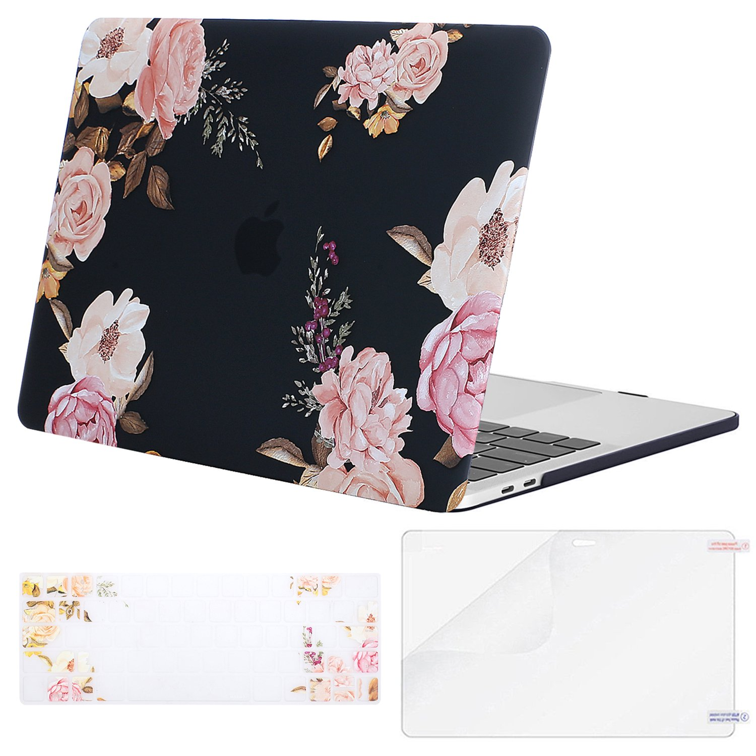MOSISO MacBook Pro 13 Case 2018 2017 2016 Release A1989/A1706/A1708, Plastic Pattern Flower Hard Shell & Keyboard Cover & Screen Protector Compatible Newest Mac Pro 13 Inch, Peony on Black Base