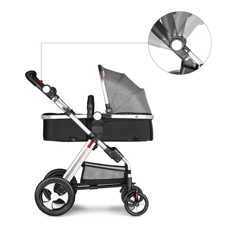 Besrey 2 en 1 Carro Bebe Carritos Bebe con capazo Silla de Paseo Reversible Cochecito Infantil 0-3 años Ruedas Grande: Amazon.es: Bebé