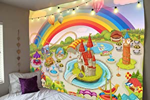 """JOOCAR Colorful Amusement Tapestry Park Cartoon Style Wall Hanging Roller Coaster Carousel Pirate Ship Tapestries Art Decor for Living Room Bedroom 59.1"""" x 78.7"""""""