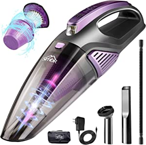 Handheld Vacuum Cordless, Car Vacuum Cleaner(Led Light, Quick Rechargeable 2500mAh Battery) Wet&Dry Portable Vacuum Hand Vacuum Cleaner for Car and Home,Stainless HEPA Filter