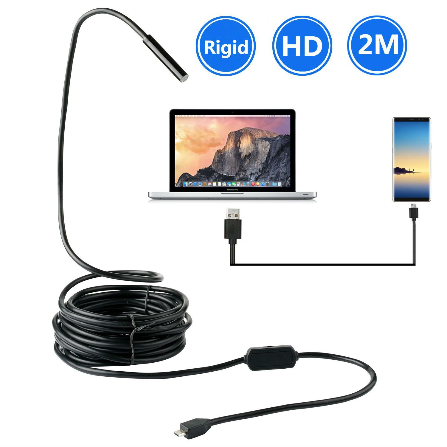 BlueFire Android USB Endoscope, Upgrade Rigid Borescope Inspection Camera 2.0 Megapixels CMOS HD Waterproof Snake Camera with 6 Adjustable Led Lights for Samsung S4/S5/S6/S7 Sony(6.6FT) ZN75-BF-UK-123