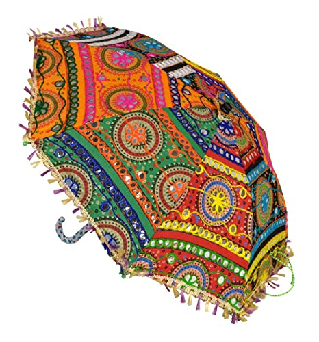 Lal Haveli Embroidery Work Design Cotton Party Decorations Beautiful Umbrella 21 x 26 inches