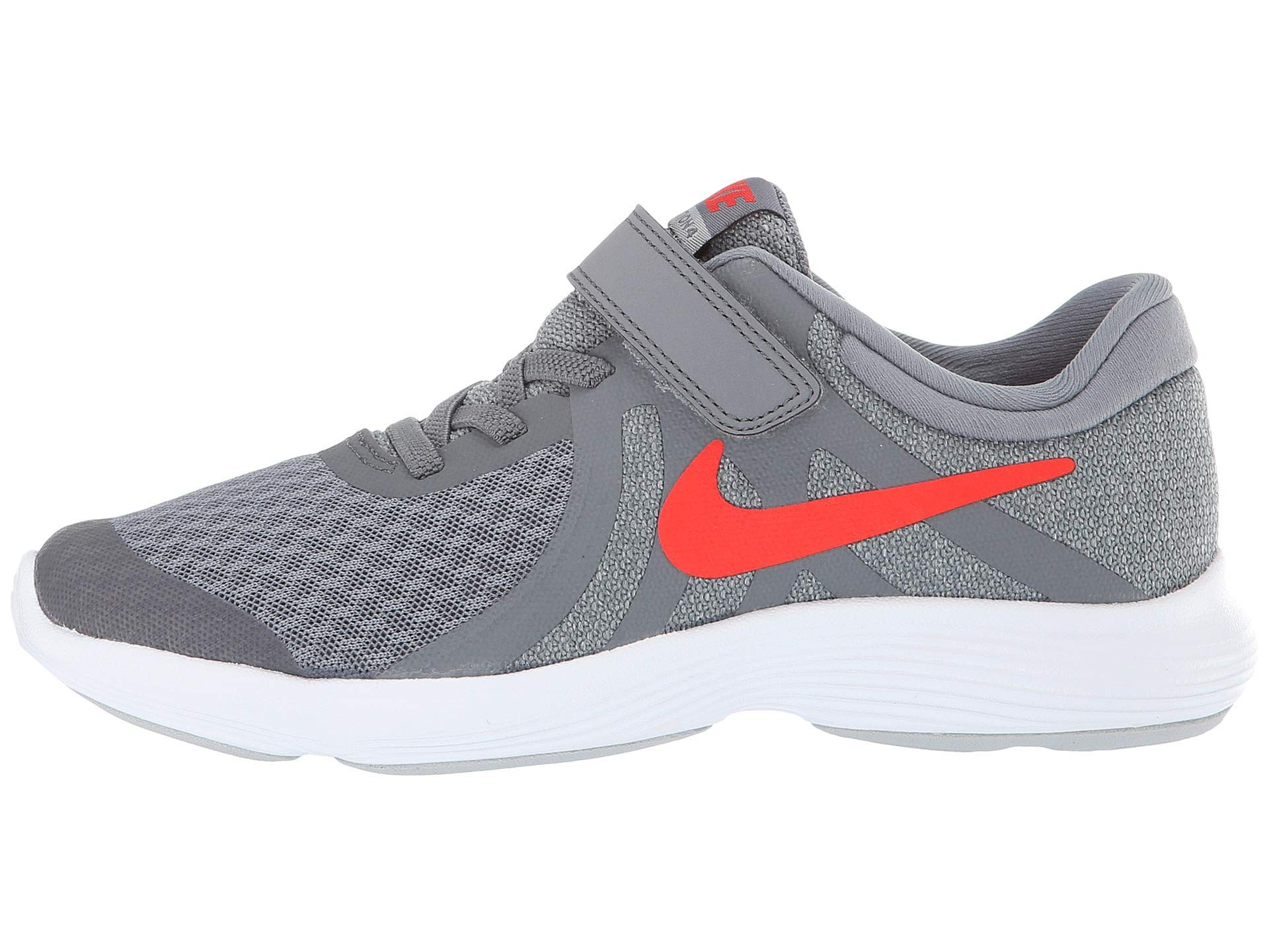 Nike Boy's Revolution 4 (PSV) Running Shoes (12.5 M Little Kid US, Cool Grey/Habanero red/Wolf Grey/White)