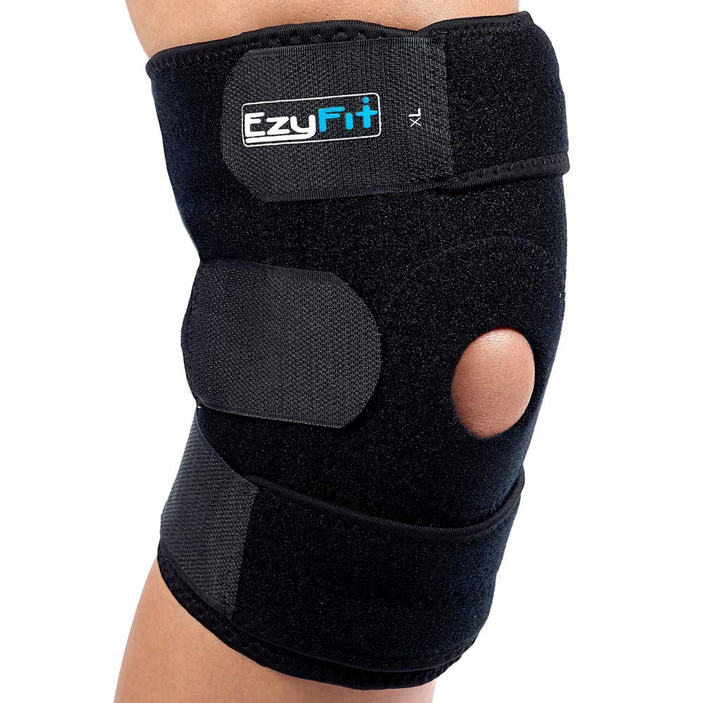 EzyFit Knee Brace Support Dual Stabilizers & Open Patella - Adjustable Breathable Neoprene for ACL Meniscus Tear Injury Recovery Comfort Fit-Black/Blue,Extra Large - 16'' - 24''