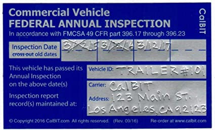 Amazon com : Federal Annual DOT Inspection Label Decal