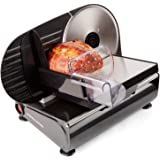 Andrew James Black Electric Precision Food Slicer 19cm Blade + Includes 2 Extra Blades For Bread and Meat