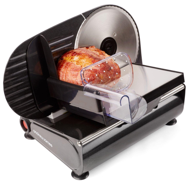 Andrew James – Elektrische Präzisions-Aufschnittmaschine Allesschneider in Schwarz – 19cm Klinge + 2 Extra Klingen für Brot und Fleisch – 2 Jahre Garantie
