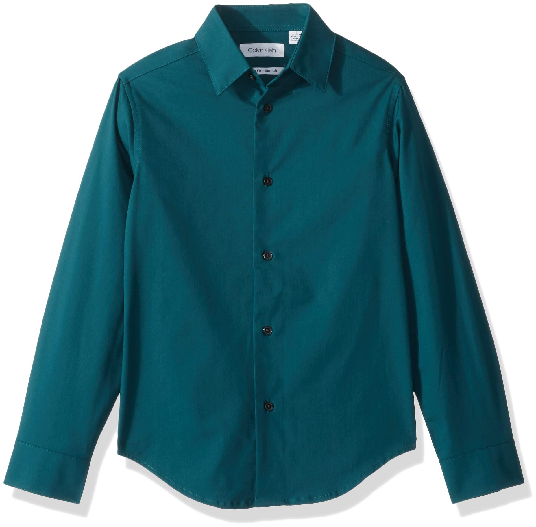 Calvin Klein Big Boys' Long Sleeve Solid Button-Down Dress Shirt, Green Jewel, 16 by Calvin Klein (Image #2)