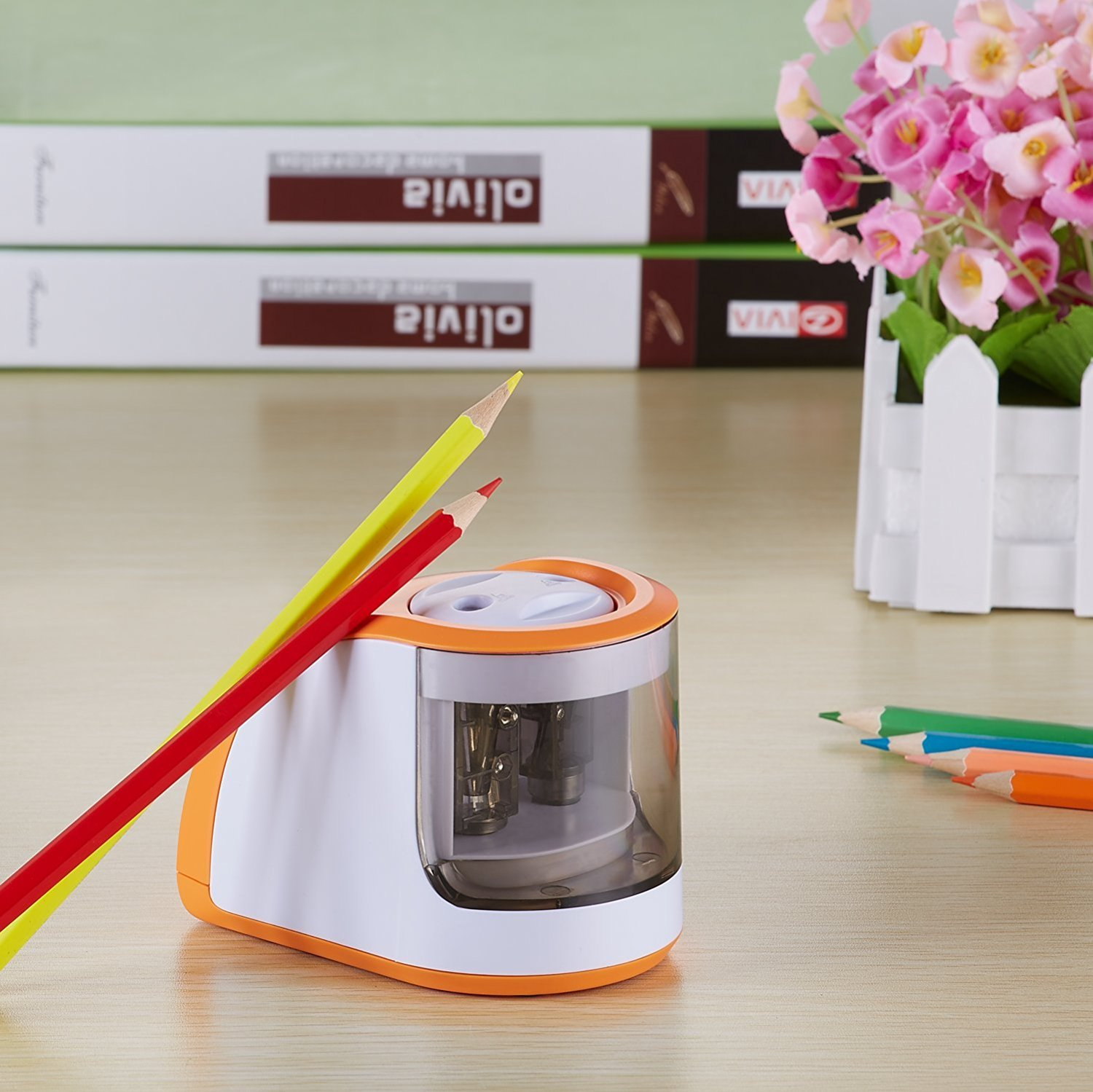Reliatronic Electric Pencil Sharpener with 2 Holes, Especially Suitable for Colored Pencils, Both AC Powered and Battery Operated, Orange