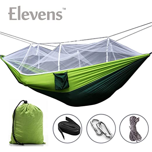 Amazon.com: Large Hammock With mosquito Net & Straps! Perfect For On the Go! (blue & grey): Sports & Outdoors