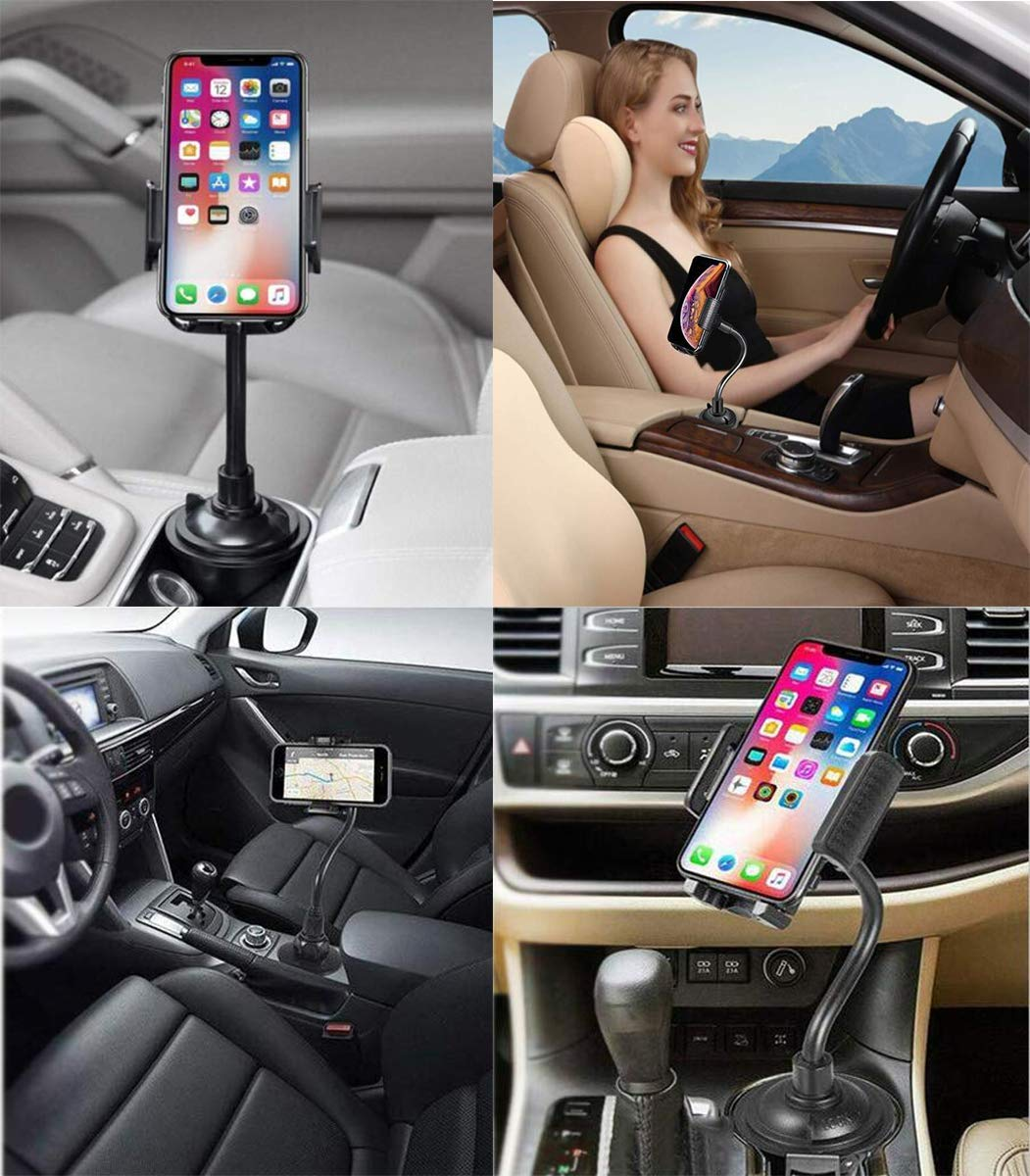 Universal Adjustable Portable Car Cradle Cup Holder Mount for iPhone 7 8 X XR XS Max Samsung Car Cup Holder Phone Mount