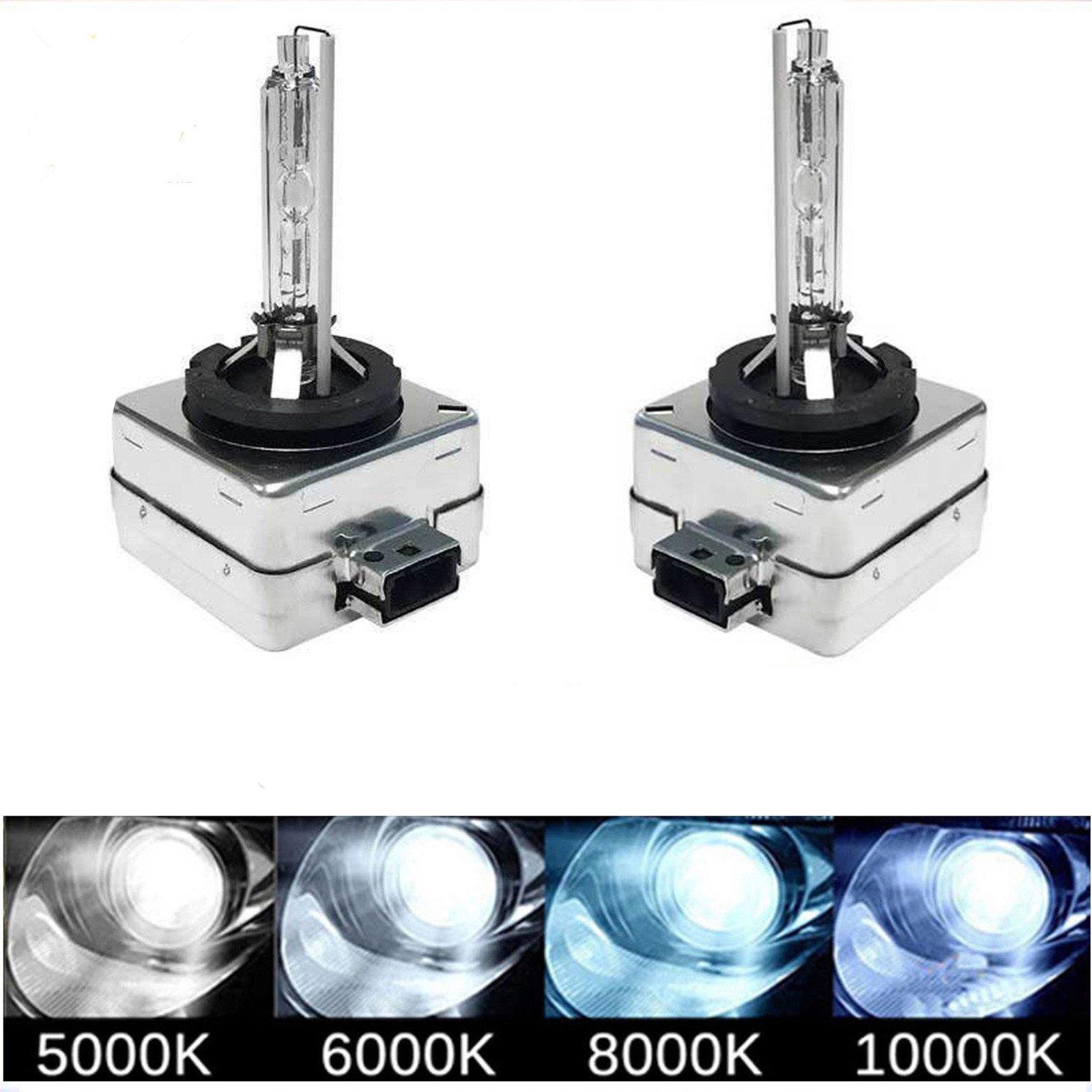 D1S D1C D1R 6000K HID Xenon Bulbs Diamond White 35W Car Headlight Lamp Super Bright OEM Factory Replce 66141 66142 85415C1 85415 Plug & Play (Set of 2)