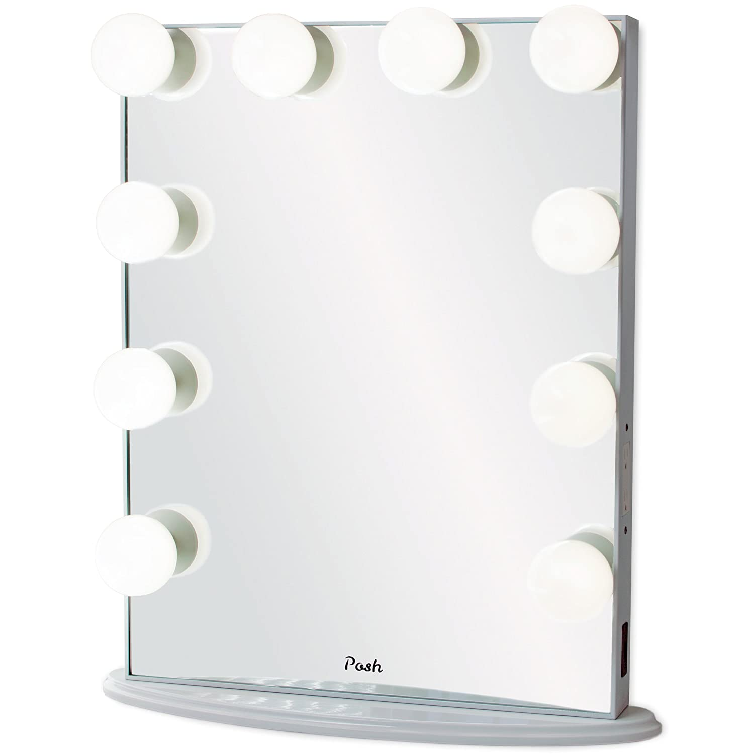Posh Hollywood Vanity Mirror, Ultra Slim Frame Beauty Makeup Lighted Mirror With 10 Daylight Globe Dimmable LED Light Bulbs, Piano White Posh Organizers
