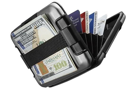 Billetera de aluminio Sharkk protegido RFID con cinta para efectivo Fuerte tarjetero de bolsillo resistente al agua (Gris): Amazon.es: Equipaje