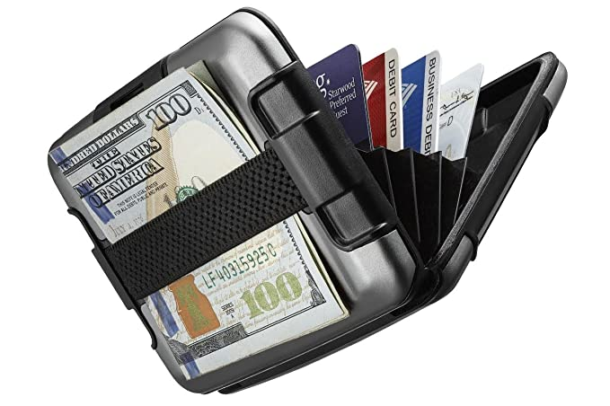 51b4c0e8a Billetera de aluminio Sharkk protegido RFID con cinta para efectivo Fuerte  tarjetero de bolsillo resistente al