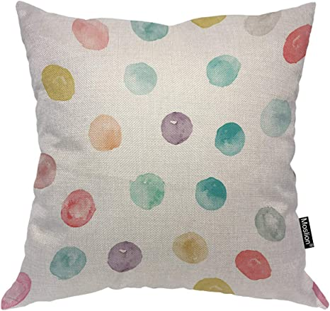 Amazon Com Moslion Circle Pillows Red Pink Blue Green Lilac Gray White Circles Doodle Splashes Throw Pillow Cover Decorative Pillow Case Square Cushion Accent Cotton Linen Home 18x18 Inch Home Kitchen