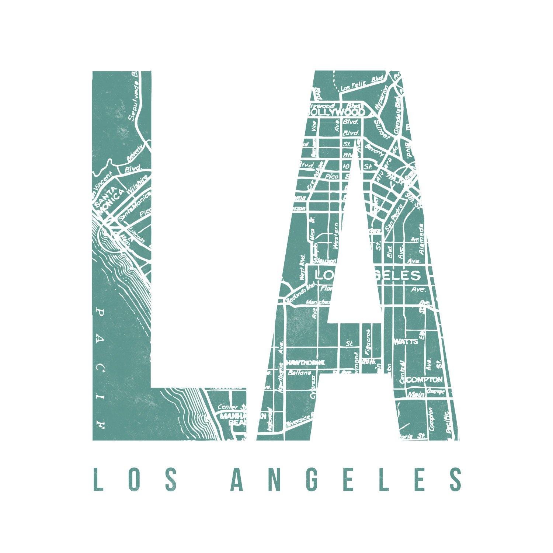 Amazon.com: Urban Decal Los Angeles Vintage Map Print - LA ...