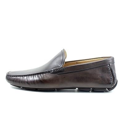c1b29fcdc8c809 GIORGIO REA Chaussures Homme Car Shoes Marron Mocassins mâle Main Italiennes,  Cuir, élégant,