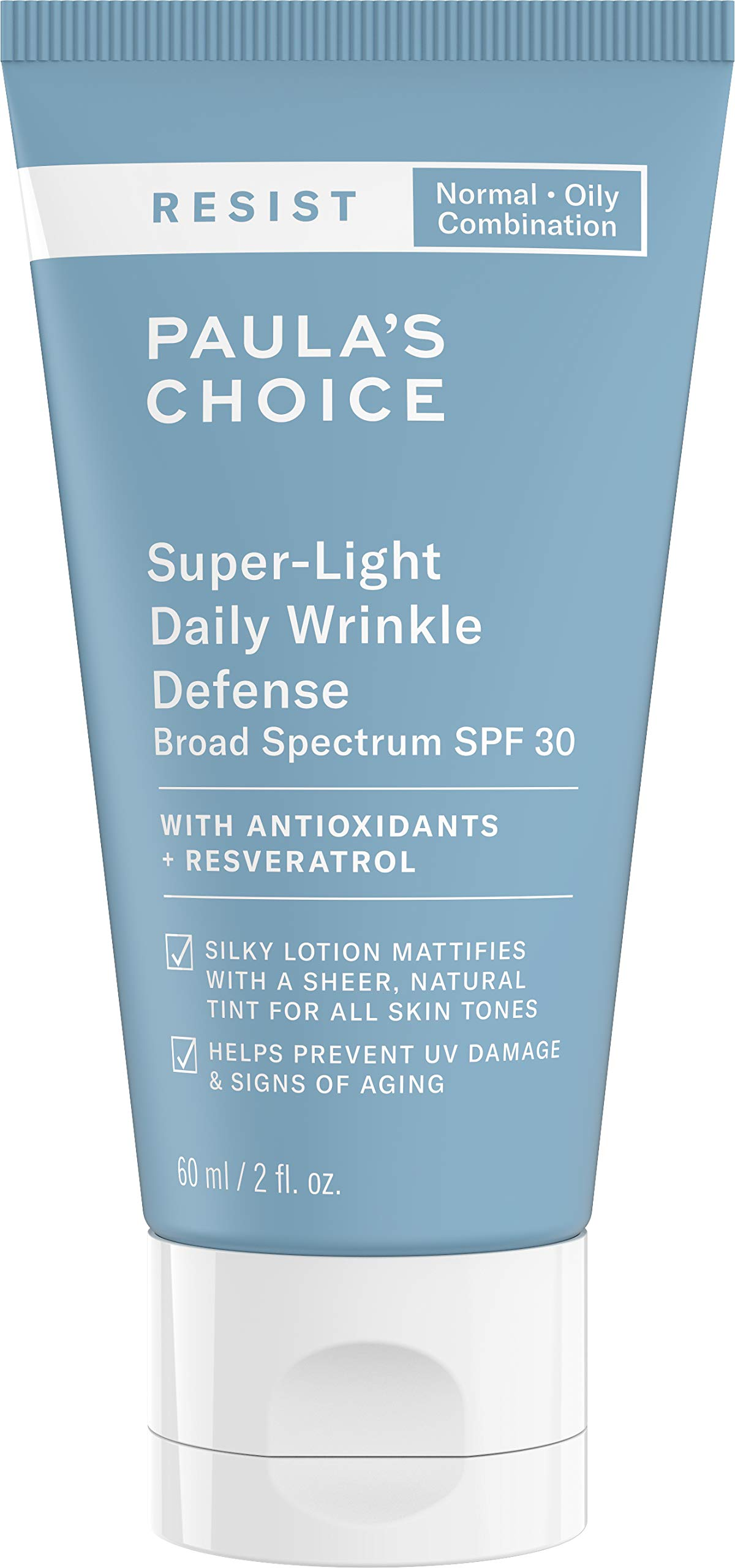 Paula's Choice RESIST Super-Light Daily Wrinkle Defense SPF 30 Matte Tinted Face Moisturizer with UVA & UVB Protection, Anti-Aging Sunscreen for Oily Skin, 2 Ounce