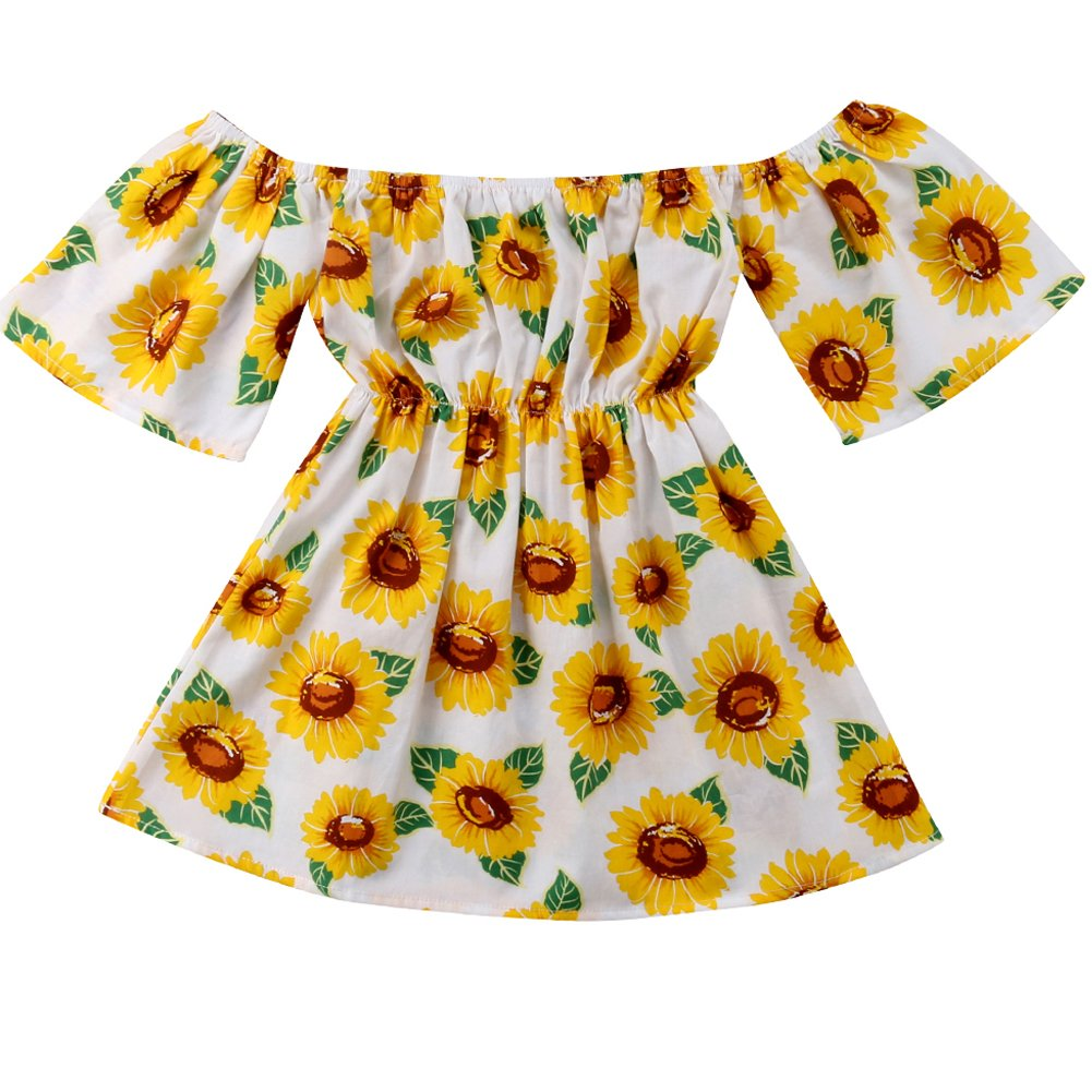 f3d9d469b Brand New Toddler Baby Kid Girls Summer Off Shoulder Sunflower Pritned Dress  Floral Outfits,quality is the first thing we can make sure.