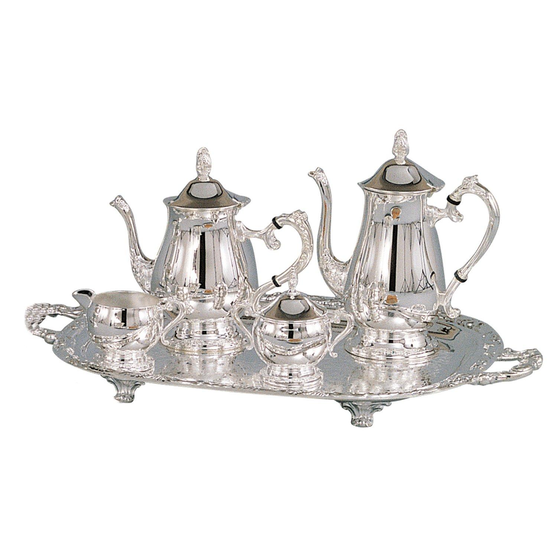 Leeber 89802 Romantica 5pc Coffee Set Silver Plate-Tarnish Resistant