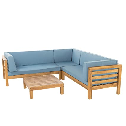 GDF Studio Ravello Outdoor 5 Seater V Shaped Mid-Century Modern Acacia Wood  Sectional Sofa Set with Coffee Table, Teak and Blue