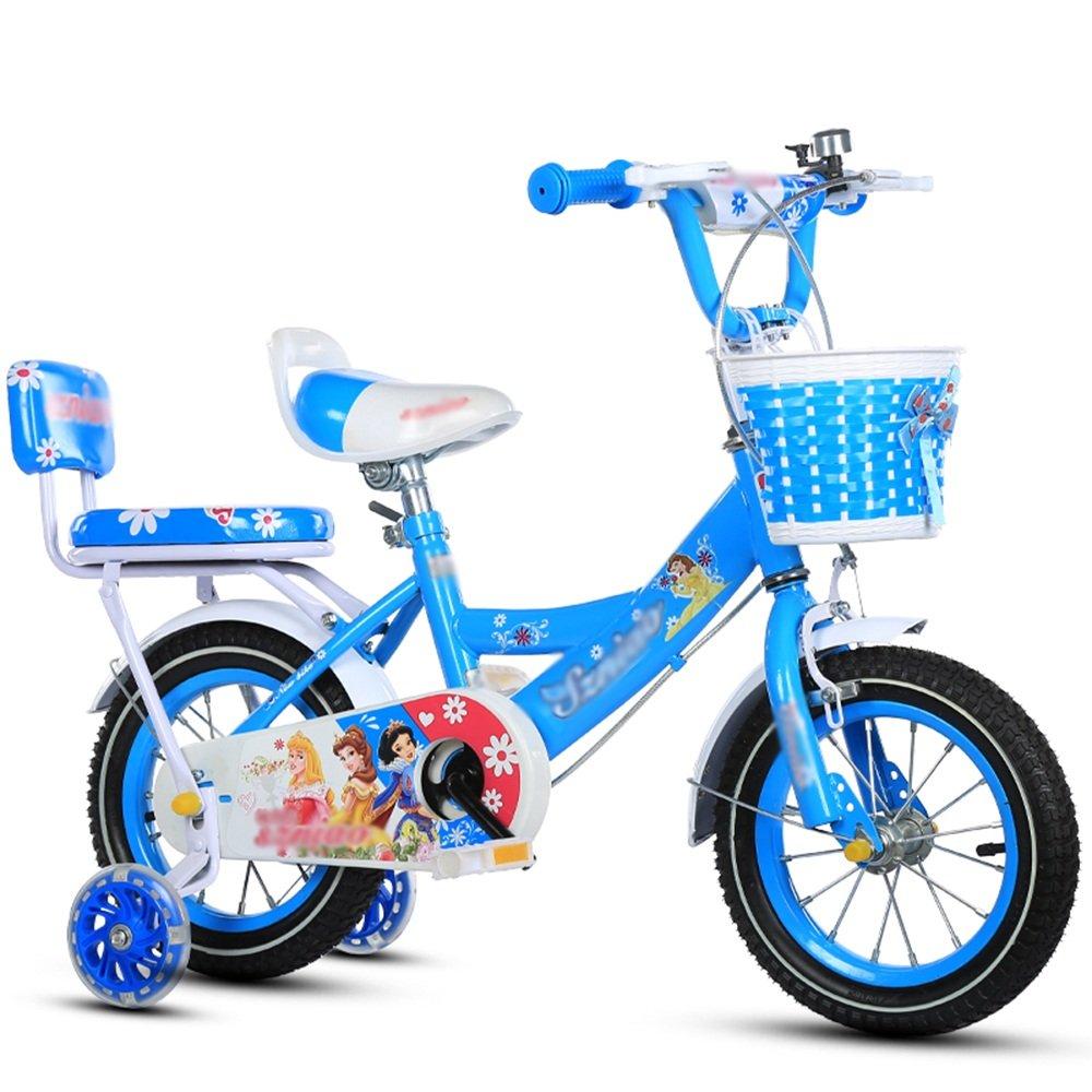 ZHIRONG 子供用自転車 トレーニングホイール付きの少年の自転車と少女の自転車 12インチ、14インチ、16インチ、18インチ 子供用ギフト ( 色 : 青 , サイズ さいず : 16 inches ) B07CRNBS4Z青 16 inches