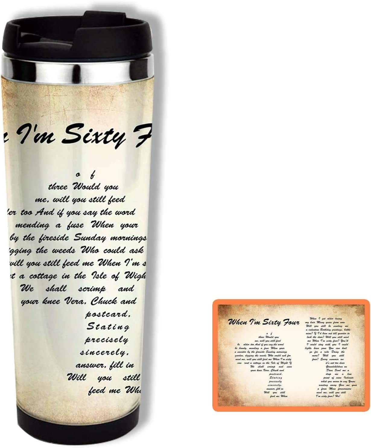 The Beatles When Im Sixty Four Man Lady Couple Song Lyric Quote Print Travel Mug Coffee Tumbler 14oz Kitchen Dining