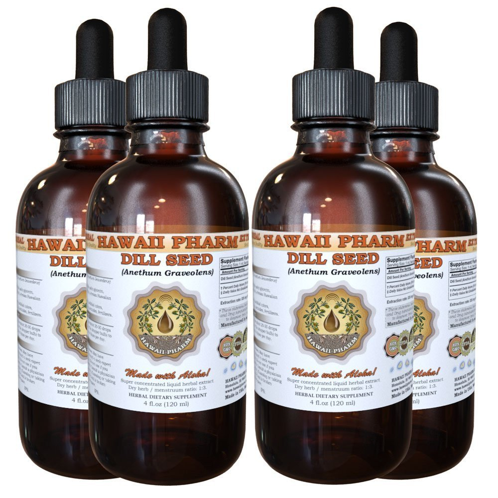 Dill Seed Liquid Extract, Organic Dill Seed (Anethum Graveolens) Tincture Supplement 4x4 oz