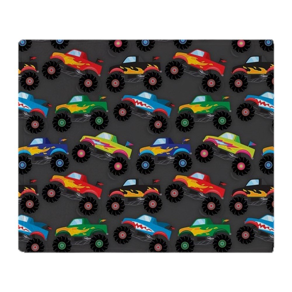 CafePress - Cool Monster Trucks Pattern, Colorful Kids Throw B - Soft Fleece Throw Blanket, 50''x60'' Stadium Blanket