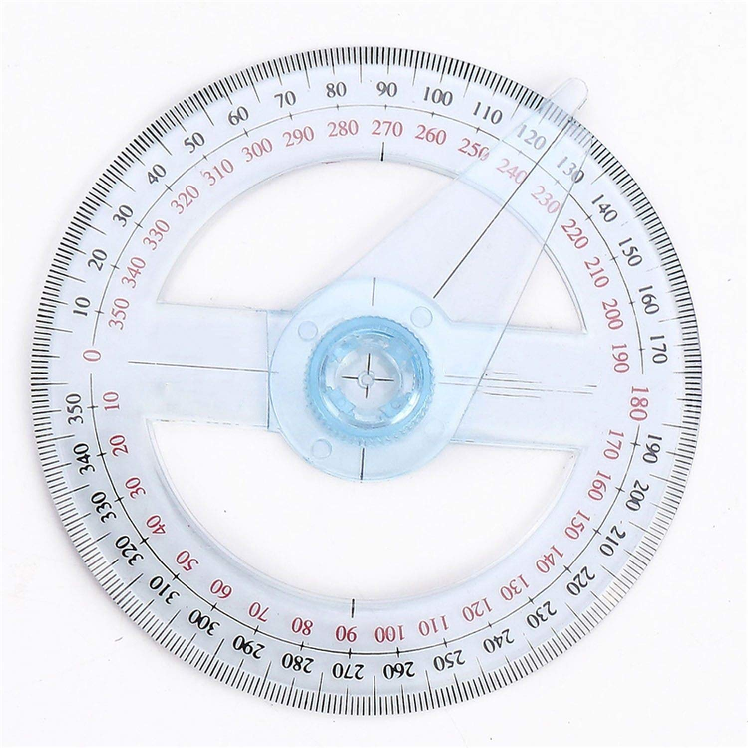 Portable Diameter of 10cm Plastic 360 Degree Pointer Protractor Ruler Angle Swing Arm for School Office Supplies,1 Pc by lucky-eye (Image #2)