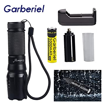 Garberiel 7 x T6 LED Flashlight 8000 Lumens Rechargeable Waterproof 5 Modes Tactical Flashlight Torch with Batteries and Charger
