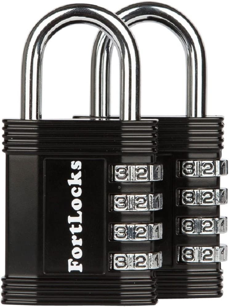 Fence Hasp 4 Digit Padlock for School /& Gym Locker Resettable All Weather Anti Rust Metal /& Steel Toolbox /& Shed Black Case Storage Outdoor 4 Pack FortLocks Combination Lock
