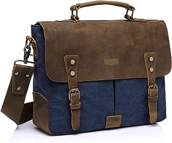 Vaschy Vintage Detachable Strap Genuine Leather Canvas Messenger Bag