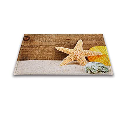 LB Seashell Picture Print Bathroom Rugs Bath Mats, Slip Proof Rubber  Backing Flannel Surface,