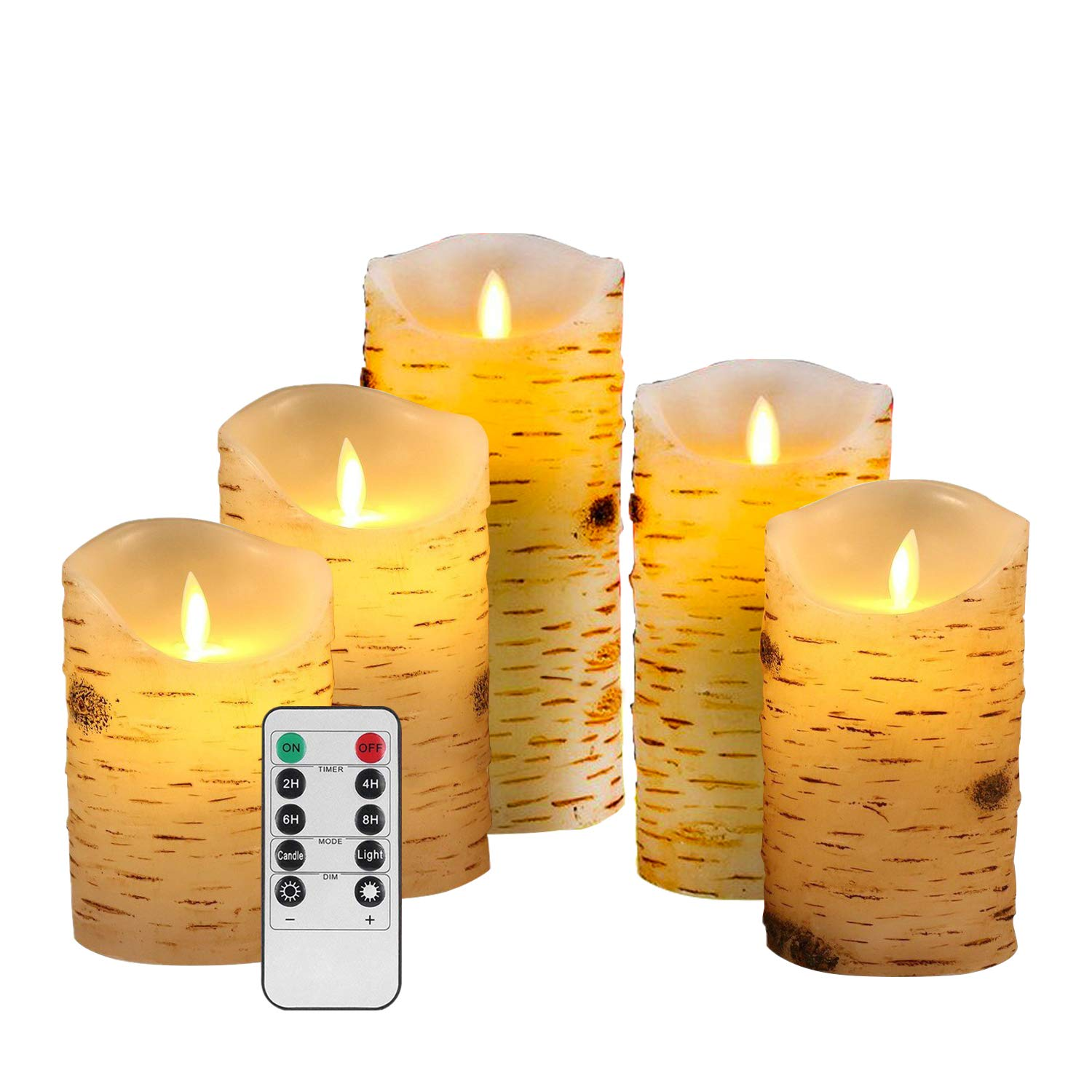 Flameless Candles Flickering Light Pillar Candles Real Smooth Wax for Gifts and Decoration Birch Bark