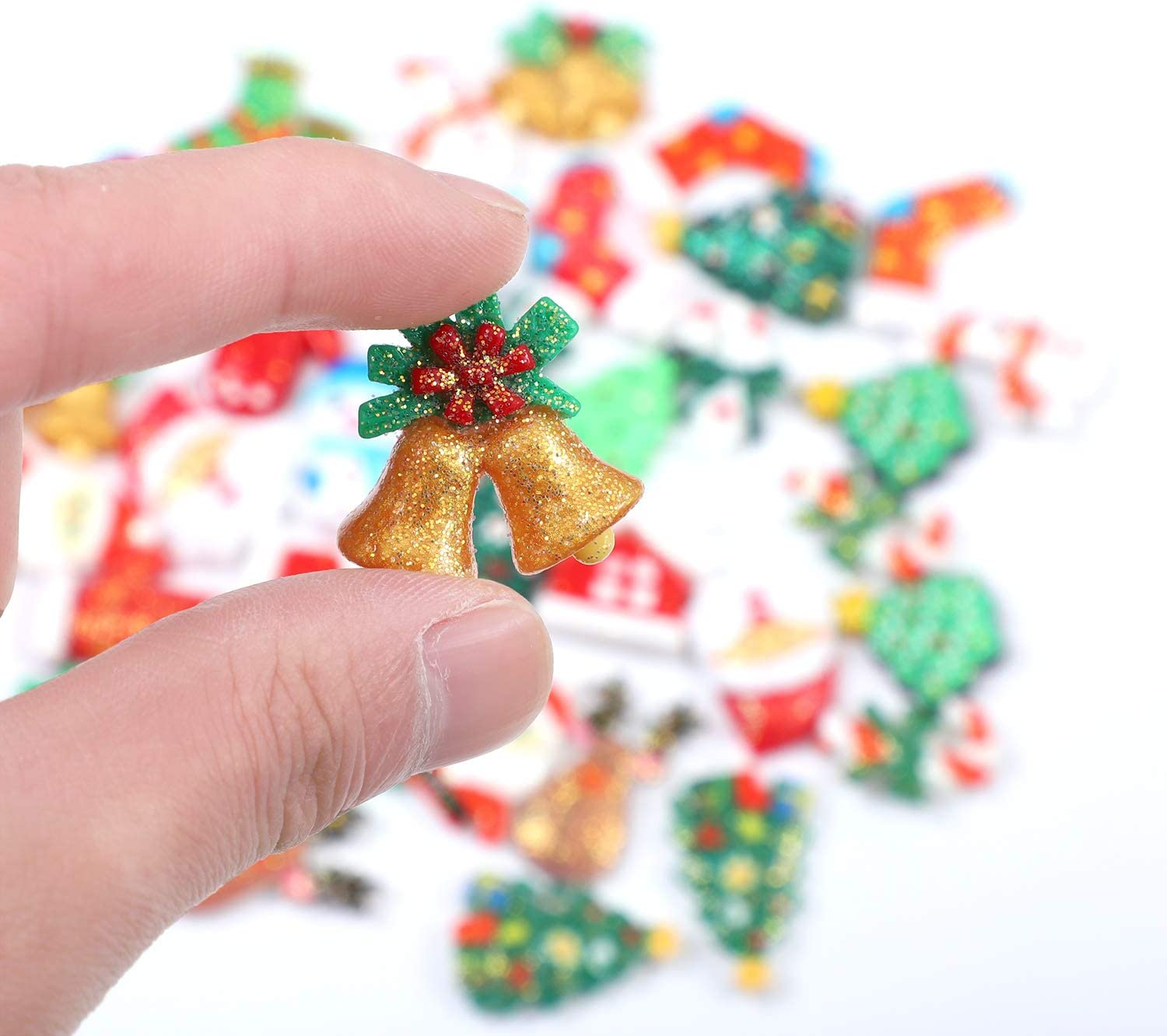 Ruisita 36 Pieces Christmas Glitter Resin Flatback Mix Lots Slices Charms Flat Back Button Christmas Craft Embellishment Assorted Bell Socks Tree with Red Bag for Christmas Ornaments Crafts DIY